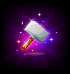 Hammer with sparkles graphic user interface icon vector