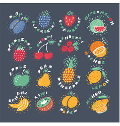 hand drawn fruits isolated on dark background vector image