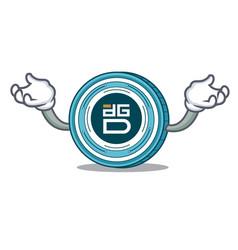 Hand up digixdao coin character cartoon vector