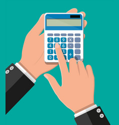 hand with calculator vector image
