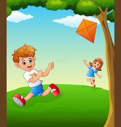 happy kids playing kite vector image
