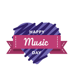 happy music day greeting emblem vector image