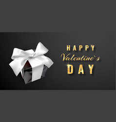 happy valentines day realistic gift box with bow vector image