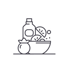 healthy vegan food line icon concept healthy vector image