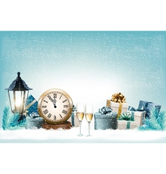 Holiday New Years background with presents and vector image