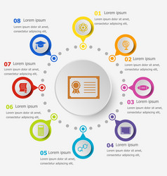 Infographic template with college icons vector