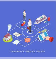 Insurance service online flat isometric vector