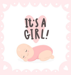 its a girl cute baand hand drawn lettering vector image