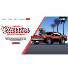 Landing page muscle car garage vector