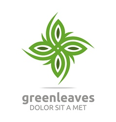 Leaves landscaping ecology logo design vector