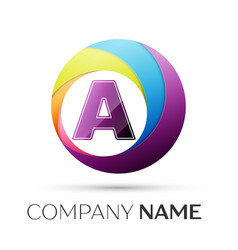 Letter a logo symbol in the colorful circle on vector