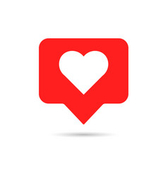 like icon in flat style white heart on red vector image