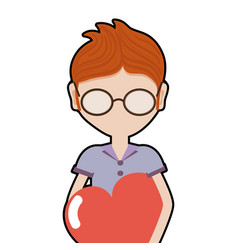 Man with glasses and heart in the chest vector