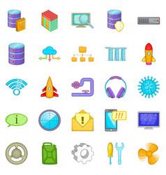 Modern technology icons set cartoon style vector