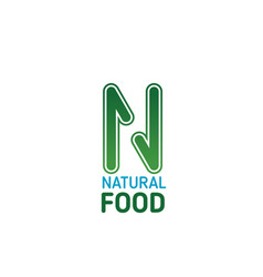 Natural food icon for healthy nutrition emblem vector