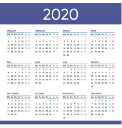 new 2020 calendar weeks start from monday vector image