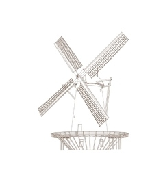 Old classic windmill vector