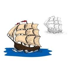 Old sail sip in ocean vector