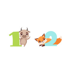 one and two numbers with cute birthday vector image