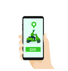 online motorcycle transportation with smartphone vector image