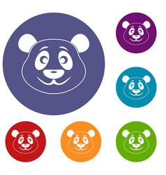 Panda icons set vector