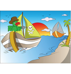 Parrot on pirates boat vector