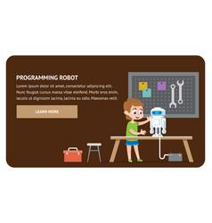 programming robot electronics talent kid study vector image