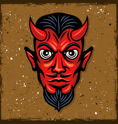 Red devil head with horns vector