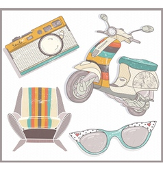 Retro elements set vector image