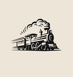 Retro train vintage emblem vector