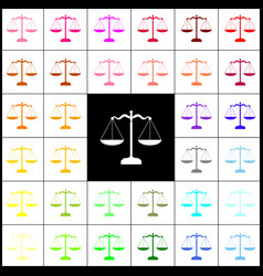 scales balance sign felt-pen 33 colorful vector image vector image