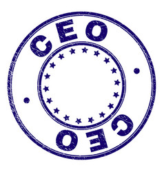 Scratched textured ceo round stamp seal vector