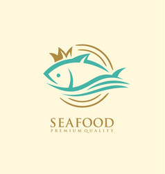 seafood logo design concept vector image
