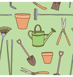 Seamless of Garden tools vector image