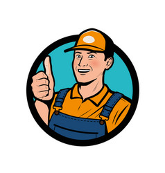 service logo happy man showing thumbs up vector image