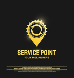 Service point logo design with gears and wrench vector