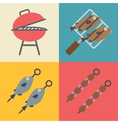 Set grill icons for outdoor and cooking icons vector