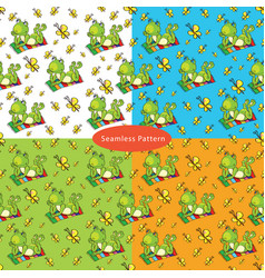 Set of seamless patterns with with a green frog vector