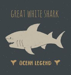 shark silhouette vintage label hand drawn sketch vector image