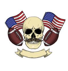 Sketch color skull american football vector