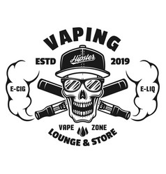 Skull and e-cigarettes with vape steam emblem vector