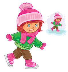 Small girl ice skating vector