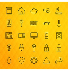 Smart House Technology Line Icons Set over vector image