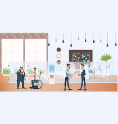 Smiling businessman shake hand in creative office vector