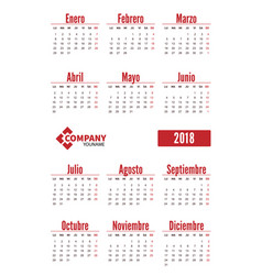 spanish vertical calendar on 2018 year vector image