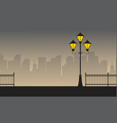 Street lamp with building background scenery vector
