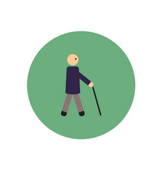 stylish icon in color circle man with stick vector image