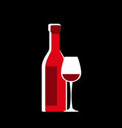 stylized drawing a bottle wine and a glass vector image