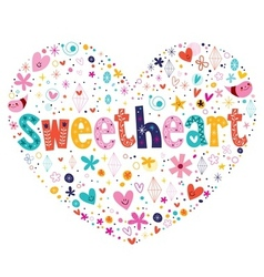 Sweetheart heart shaped typography lettering card vector