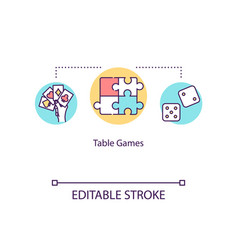 Table games concept icon leisure at home tabletop vector